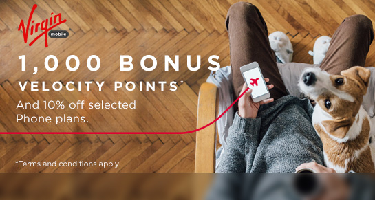 1,000 bonus Velocity Points and 10% off selected Phone plans with Virgin Mobile. T&Cs apply.