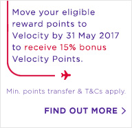 Move your eligible reward points to Velocity by 31 May 2017 to receive 15% bonus Velocity Points. Minimum points transfer & T&Cs apply.