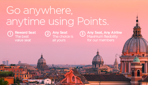Go anywhere, any time, using Points. 1. Reward Seat - The Best value seat 2. Any Seat - the choice is yours 3. Any Seat Any airline - Maximum flexibility for our members